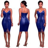 4180be9b0 los vestidos atractivos del dril de algodón del partido al por mayor-Vestido  de mezclilla