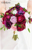 ingrosso bouquet di nozze di peonia rossa-Bouquet da sposa su misura Simulazione Bouquet Vino Rosso Deep Purple Powder Peonia Anemone Rose Forest Bouquet da sposa ramos de novia bruidsboeket