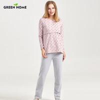 3e4bb93628826 Green Home Nursing Full Sleeve Maternity Sleepwear Set for Pregnancy  Nightwear Home Clothes for Women Pajamas Suit Lactancia. Supplier: breenca