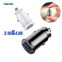 Wholesale Dual Car Charger USB Ports Led Light Adapter Universal V A A phone charger for iphone Samsung S7 HTC LG smartphones