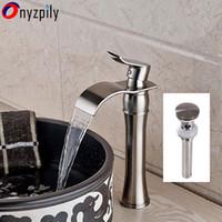 Wholesale pop up bathroom sink drain - Single HandleWaterfall Spout Bathroom Sink Vessel Faucet Mixer Tap Pop Up Drain