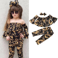 Wholesale baby girl clothing 3pcs set resale online - 2020 New Fashion Casual Baby Girl Off shoulder Tops Loose Pants Leggings Headband Summer Clothes Sets bell bottomed pants