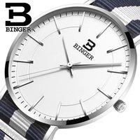 роскошные ультратонкие часы оптовых-Швейцария BINGER мужские часы люксовый бренд ультратонкий limited edition водонепроницаемый влюбленных кварцевые наручные часы B-3050M-10