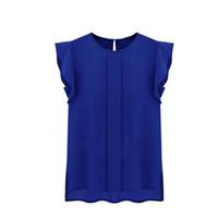 bluz pleat şifon toptan satış-Kadın Yaz Kısa Kollu Şifon Bluzlar O-Boyun Ruffled Pilili Kollu Şifon Gömlek Üst Kadın Tee Üstleri 2018 Yeni Varış