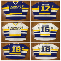 Wholesale Hockey Free - Hanson Brothers Charlestown Hockey Jerseys #16 Jack #17 Steve #18 Jeff SlapShot Movie Jerseys Stitched Free shipping