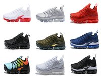 Wholesale 12 Boxes - 2018 NEW Vapormax TN Plus Olive In Metallic 12 Colorways Running Mens Shoes Sports Male Shoe Pack Triple Black TRIPLE WHITE [with box]