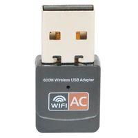 receptor wifi ethernet venda por atacado-600 Mbps USB Adaptador WiFi Dual Band 2.4 G / 5 GHz RTL8811CU Placa de Rede Sem Fio Mini Lan 600 M Adaptadores Wi-fi 802.11AC Receptor Ethernet