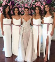 Wholesale pretty bridesmaids dresses red - Pretty Simple White Split Bridesmaid Dresses For Summer Country Weddings Sheath Spaghetti Straps Wedding Guest Dress with Sash