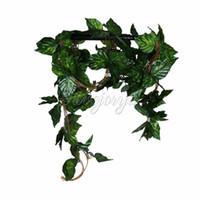 grandes plantes artificielles achat en gros de-Mariage 10pcs Vigne Artificielle Grande Feuille Rhodea Ivy Plantes De Vigne Faux Plantes Fleurs De Mariage Décor À La Maison 7 .5 Pieds Artificielle Lierre