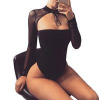 frauen club bodysuits großhandel-Choker Sexy Bodysuit Frauen Schwarz Mesh Langarm Bodycon Top Strampler Lässige Party Club Bodys