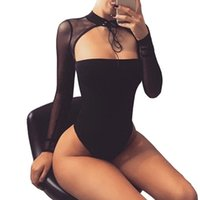 Wholesale Sexy Party Bodysuits - Choker Sexy Bodysuit Women Black Mesh Long Sleeve Bodycon Top Rompers Casual Party Club Bodysuits