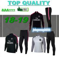Wholesale men grey jacket - thai quality 2018 NEYMAR JR MBAPPE CAVANI training suit soccer Jerseys kit 17 18 19 maillot de foot paris football jacket tracksuit set