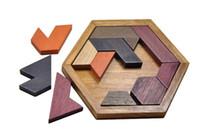 yapboz sihirli küre toptan satış-Çocuklar Bulmacalar Ahşap Oyuncak Tangram / Yapboz Tahtası Ahşap Geometrik Şekil Çocuk Öğrenme Eğitim Oyuncak