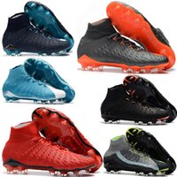 Wholesale Cheap Gold Ankle Boots - Cheap high ankle FG soccer cleats Hypervenom Phantom III DF soccer shoes neymar football boots cleats Men football shoes