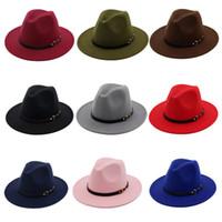 chapeaux britanniques pour les hommes achat en gros de-Chaude Automne Hiver Chapeaux Casquettes pour Femmes Hommes Loisirs Unisexe Fedora Chapeaux avec Ceinture Boucle British Wide Brim Jazz Cap