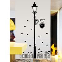 ingrosso lampada da parete per la stanza-New Pattern Living Room Wall Stickers Modern Minimalism Removable Street Lamp Paster Fashion Home Decor di alta qualità 7ch Ww