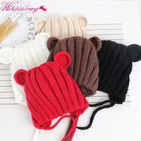 корейская шляпа девочка оптовых-Childrens hat Korean baby girls boys hat ear wool cap baby fall winter lace handmade