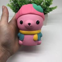 Wholesale super cute rabbit - Kawaii Squishy Rabbit Cat Jumbo Hat Bear Cute Pendant Slow Rising Super Soft Jumbo Squeeze Stress Reliever Phone Straps Pendant AAA145