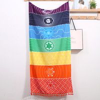 Wholesale embroidering tapestries for sale - Group buy Mandala Tassels Chakra Tapestry Striped Yoga Mat Bohemian Decor Polyester Printed Travel Shawls Sunblock Beach Towel Hippy Boho Tablecloth