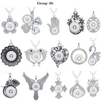 Wholesale assorted necklace pendants - 12 Group Noosa Assorted Ginger 18mm Snap Buttons Chunk Charms Crystal Heart Round Animal Multi Pendant Necklaces Snap Jewelry