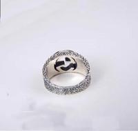 designs de jóias na moda venda por atacado-anel S925 pura prata noivado amantes da moda com palavras ocas Design Amante casal jóias anéis PS5445