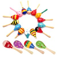 Wholesale baby rattle color resale online - Musical Wooden Colorful Toys Cute Toddler Kids Sound Music Toy Baby Rattle Children Instrument Toys Random Color