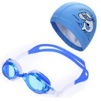 ingrosso tappo di nuotata in tessuto impermeabile-Bambini Bambini Anti Fog Protezione UV Impermeabile Occhiali da nuoto in silicone Occhiali Eyewear PU Tessuto Dolphin Swim Cap Hat Set