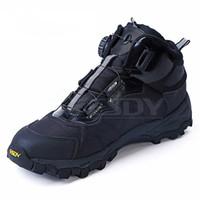lacets de bottes en nylon plats achat en gros de-Hommes Tactique Militaire Bottes D'hiver En Cuir À Lacets Armée De Combat Cheville Bottes Hommes Plates Chaussures De Travail De Sécurité