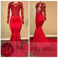 ingrosso bei vestiti da promenade del merletto nero-2018 Beautiful Sheer Long Sleeves Red Prom Dresses Mermaid Lace Appliqued Perline African Black Girls Abiti da sera Abiti da sera Slim