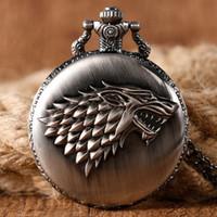 Wholesale Unique Families - Antique Game of Thrones Strak Family Crest Winter is Coming Design Pocket Watch Unique Gifts Unisex Fob Clock