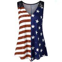 frauen-amerikanisches flaggen-trägershirt großhandel-Plus Size Sommer Sleeveless Tops Amerikanische Flagge Print Unabhängigkeitstag Spitze Frauen Tank Top Weste Frauen Kleidung Camisas Mujer # 410