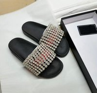 Wholesale hotel diamonds - mens designer Diamond sandals causal rubber summer huaraches slippers Women loafers flats luxury Brand slides crystal sandals