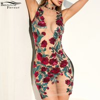 roupas para festa de aniversário venda por atacado-Bonnie forest sexy floral bordado lantejoulas vestidos de festa de luxo mulheres ver através bodycon malha dress vestidos de aniversário outfits