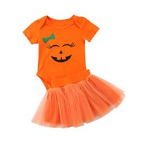 naranja bodysuit al por mayor-2018 Emmababy recién nacido niña Halloween naranja calabaza princesa Smiley cara mono tul falda de malla trajes conjunto
