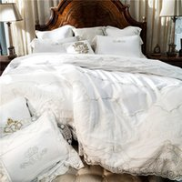Wholesale white embroidered duvet cover - White Embroidery Cotton Bedding Sets Luxury Duvet Cover Set princess lace edge Queen King size wedding Bedclothes Bed Linen