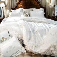Wholesale wedding bedding sets lace - White Embroidery Cotton Bedding Sets Luxury Duvet Cover Set princess lace edge Queen King size wedding Bedclothes Bed Linen