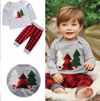 Wholesale pants tshirt for girls resale online - INS New Christmas tree Xmas Baby boys gray elk tops tshirt baby red black Plaid pp pants pc set for years free ship