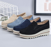 Wholesale Ladies Blue Suede Shoes - New Spring Autumn Moccasin Women's Flats Suede Genuine leather Shoes Lady Loafers Slip On Platform Woman Moccasins dh2h19