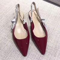 zapatos casuales negros de tacón bajo al por mayor-Eslinga puntiaguda de cuero genuino de alta calidad con tacones bajos y zapatos planos d negro size35-40