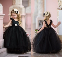 Wholesale good wedding pictures - Black Lovely Ball Gown Flower Girls Dresses 2018 Princess Pageant First Communion Dresses Toddler Gowns For Girls Cheap Good Quality
