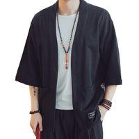 kimono japonés caliente al por mayor-Chaqueta de los hombres de estilo japonés Ocio moda Retro Robe hombres Kimono Cardigan Moda BF Wind Print manga corta de la venta caliente