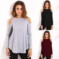 Wholesale Plus Size Long Sleeve Tunic - Women Tops Autumn Blouses Ladies Sexy Tunic Off Shoulder Long Sleeve Pullover Casual Loose Blouses Shirts Plus Size 5XL