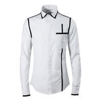 aed86cba43 Camisa de marca Dos Homens 2018 de Alta Qualidade Novo Algodão Chemise  homme Moda linha Vertical design preto   branco Camisas casuais Finas plus  size