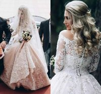 online shopping Ball Gown Wedding Dress - Off The Shoulder Long Sleeve Wedding Dresses With Jacket Lace Applique Sweep Train Country Bridal Gown Luxury Plus Size Wedding Dress