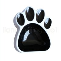 Wholesale feeder singles for sale - Group buy Puppy Cat Paw Footprint Food Water Bowl Pet Plastic Universal Black Feeder Basin Small Single Dog Bowls AAA772