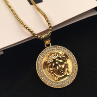 Wholesale Gold Chain Top - Top Quality Medusa Pendant Necklaces For Men 2017 Hot Hiphop Jewelry Gold Plated Luxury Accessories Free Shipping