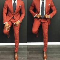 Wholesale h white lights resale online - New Fashion Two Buttons Groom Tuxedos Groomsmen Peak Lapel Best Man Blazer Mens Wedding Suits Jacket Pants Tie H