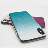 Wholesale Button Gradients - For iPhone X iPhone 8 7 plus Gradient Glitter All-inclusive Anti-fall Button to Protect TPU Soft Case Retail Package Free Shipping
