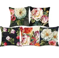 lale soğanı toptan satış-Red Tulip Camellia Flower Cushion Cover Retro Oil Painting Pillow Cover 8 Styles Thick Linen Cotton Pillow Case Bedroom Sofa Decor