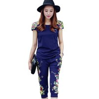 Wholesale ladies short yoga pant for sale - Fashion Flowers Printed Women Tracksuit Casual T Shirts Pants Lady Clothing Suit Size L xl China Style Summer Lady Sets
